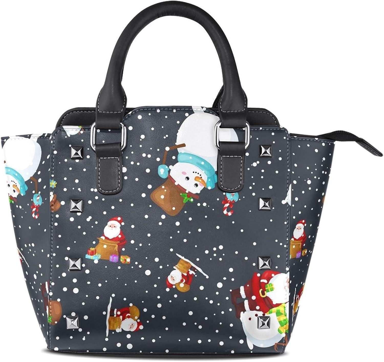 Sunlome Merry Christmas and Happy New Year Santa Claus Snowfall Black Print Handbags Women's PU Leather Top-Handle Shoulder Bags