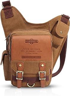 FANDARE Vintage Sling Bag Umhängetasche Messenger Bag Hiking Bag Crossbody Bag Rucksack Canvas Khaki B