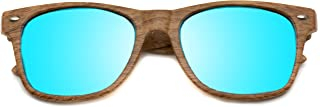 Faux Wood Print Reflective Revo Color Lens Horn Rimmed Sunglasses