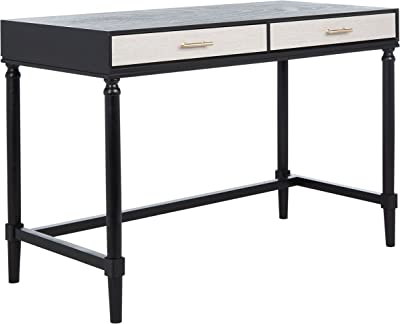 SAFAVIEH Home Collection Layce Distressed Grey 2 Computer Table Office Desk DSK5703A, Black with Natural Drawer Color