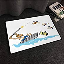 Diycon Outdoors Door Mat, Hunting, Boating Aged Man Shooting Wild Ducks and Funny Dog Falling Into Water Cartoon Style, Suitable for Outdoor and Indoor Use, W20 xL31, Multicolor