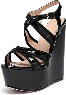 "elashe Sandalo Donna Zeppa Piattaforma Estivi Sandals 6"" Strappy Peep-Toe Zeppa Plateau Festa"