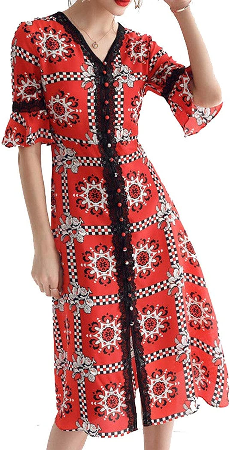 European and American Fashion Women's Ice Soft VNeck Sleeves Dress Skirt Silk 100% Silk Dress SXL (color   Red, Size   S)