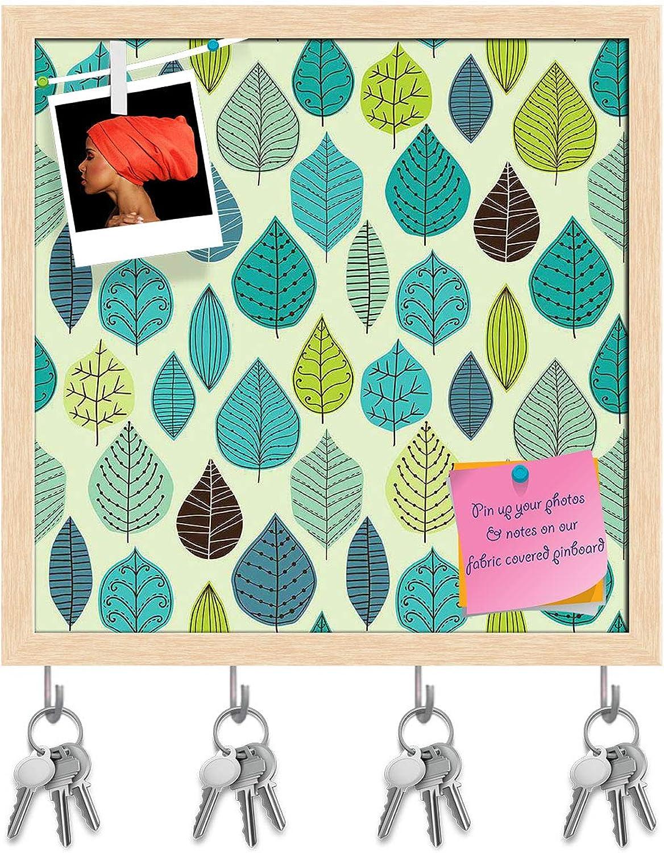 Artzfolio Autumn Leaf D6 Key Holder Hooks   Notice Pin Board   Natural Brown Frame 20 X 20Inch