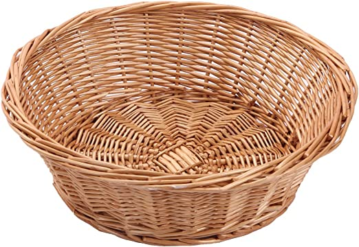 Kingwillow Wicker Basket Fruit Bread Tray Storage Basket Fruit Bowl Round Stackable Basket 2 Pieces Kitchen Dining