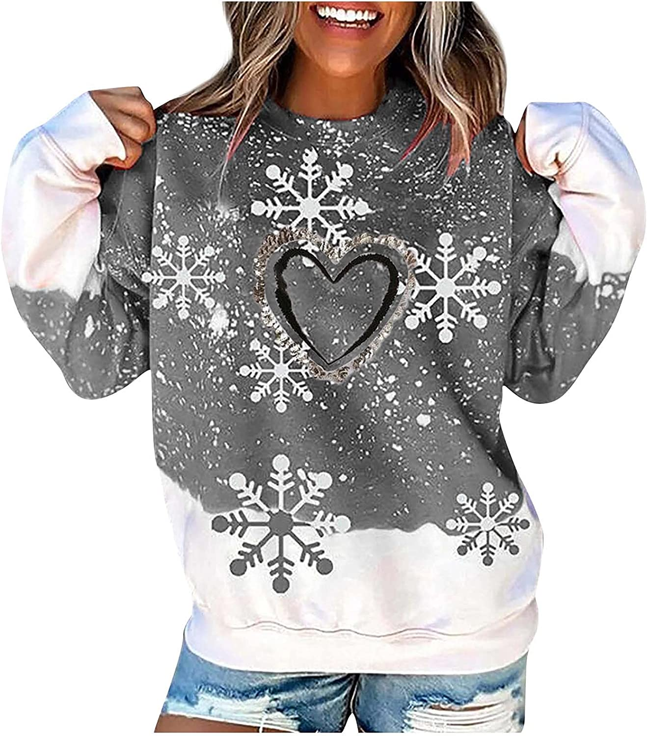 Xiangdanful Lady Christmas Print Contrasting Stitching O Low price N Reservation Color