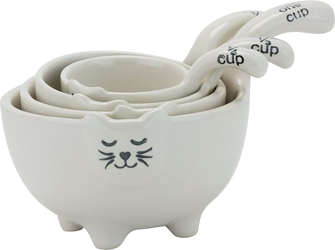 10 Strawberry Street Cat Measuring Cups Set Of 4 White