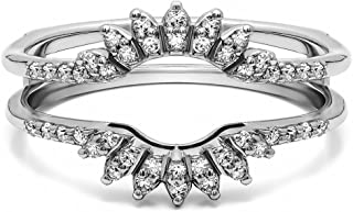 0.2 Ct. Contoured Wedding Ring Jacket in Sterling Silver with Cubic Zirconia