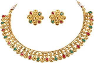 Ratna Beautiful Indian Bollywood Gold Plated Polki Traditional Sleek Necklace & Earring Set Women Wedding Partywear Jewelry (Gold)