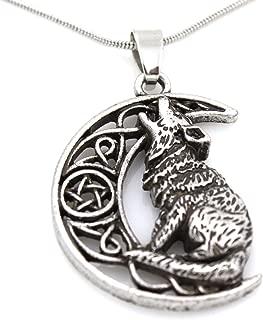 Steampunk - Celtic Star Moon Howling Wolf Pendant Necklace - Viking Pentagram Pentacle Castiel Triquetra Trinity Knot