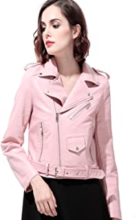 ea13d5759b4 LY VAREY LIN Women's Faux Leather Motorcycle Jacket PU Slim Short Biker Coat