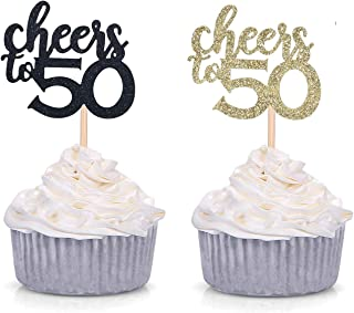 Black and Gold Glitter Cheers to 50 Cupcake Toppers 50th Birthday Celebrating Party Decorations - 24 Pack