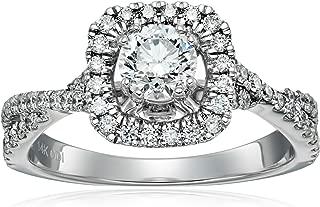 IGI Certified 14k White Gold Diamond Halo Twist Engagement Ring (1 cttw, H-I Color, I1-I2 Clarity)
