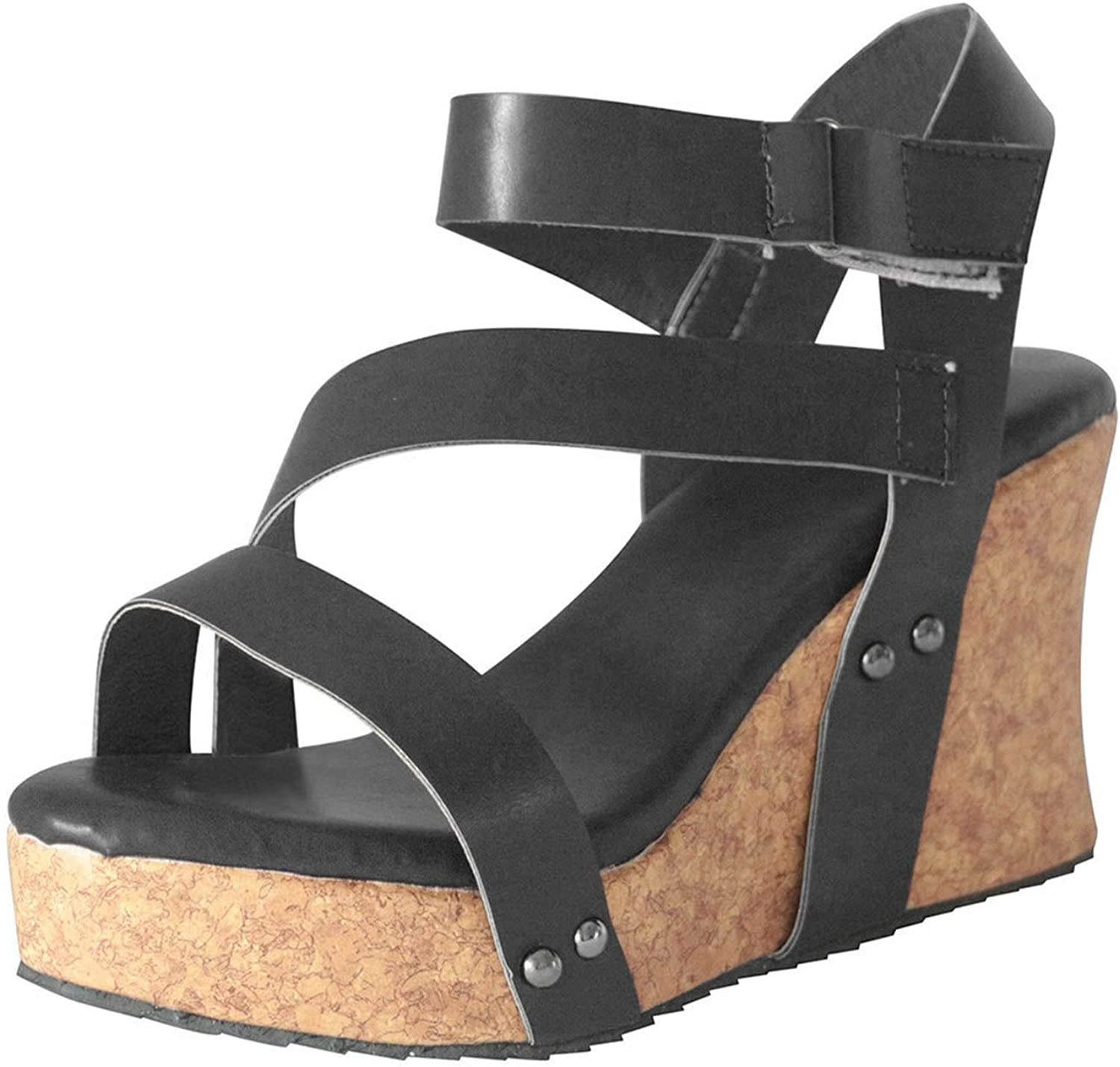 Wedges Platform Sandals Women Retro Open Toe Leather latform Roman Sandals