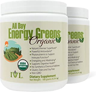 IVL - All Day Energy Greens Organic, 6.34 oz (Pack of 2)