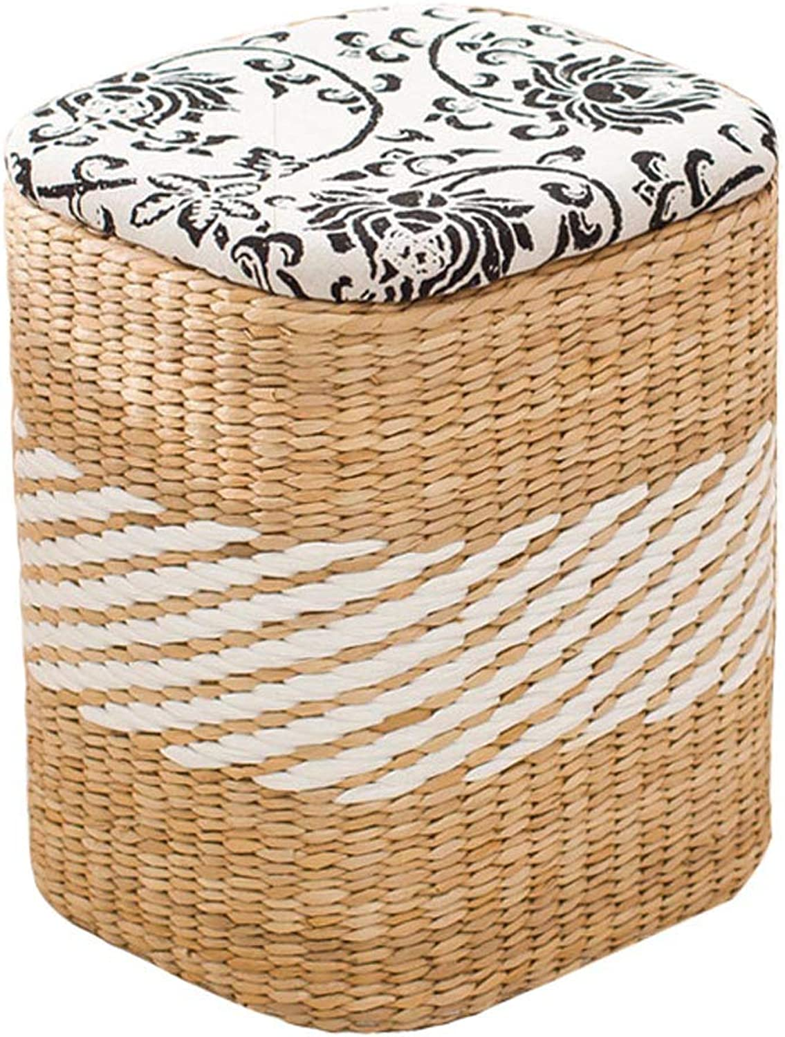 Solid Wood Storage Stool Rattan Footstool, Creative Dressing Stool Home Square Straw Dress shoes Stool, Suitable for Living Room, Bedroom, Study
