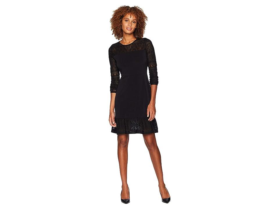 MICHAEL Michael Kors Fabric Mix Long Sleeve Dress (Black) Women