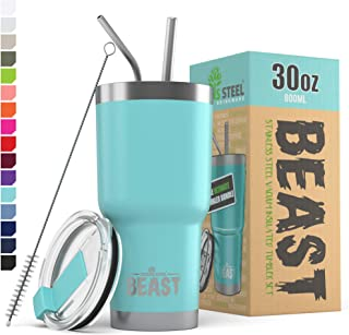 Beast 30 oz (800ml) Tumbler Stainless Steel Vacuum Insulated Coffee Cup Double Wall Travel Flask with Splash Proof Lid, 2 ...