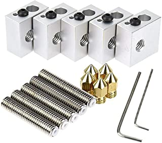 Zomiee 5pcs 30MM Length Extruder 1.75mm Tube + 5pcs 0.4mm Brass Extruder Nozzle Print Heads + 5pcs Aluminum Heater Block Extruder Kit for MK8 M6 Makerbot Reprap 3D Printers