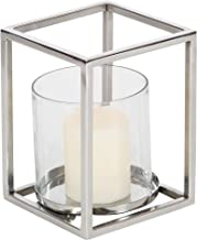 """Deco 79 90932 Stainless Steel and Glass Hurricane Candle Holder, 8"""" x 6"""", Clear/Silver"""