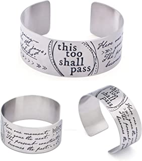 This Too Shall Pass Inspirational Wide Adjustable Cuff Bracelet | Made of Stainless Steel | Open Design Fits Most Wrist Sizes | Cuff Size 6.5 Inches