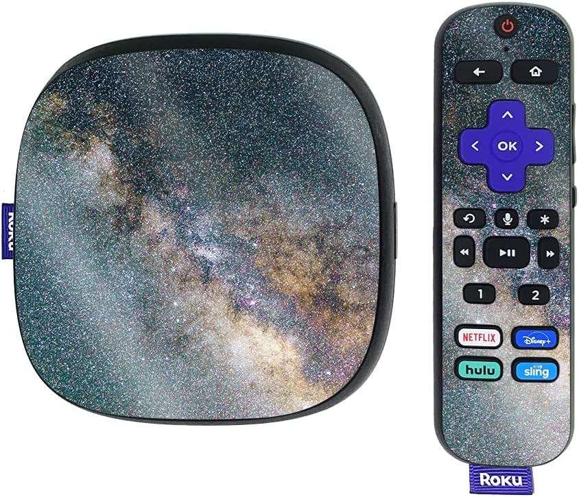 MightySkins Glossy Glitter Skin Compatible with Roku Ultra HDR 4K Streaming Media Player (2020) - Galactic Landscape   Protective, Durable High-Gloss Glitter Finish   Easy to Apply   Made in The USA