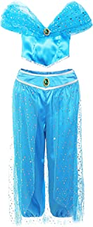 Jurebecia Jasmine Costume for Girls Princess Arabian Dress up Halloween Party Role Play Outfit Blue 2-10 Years