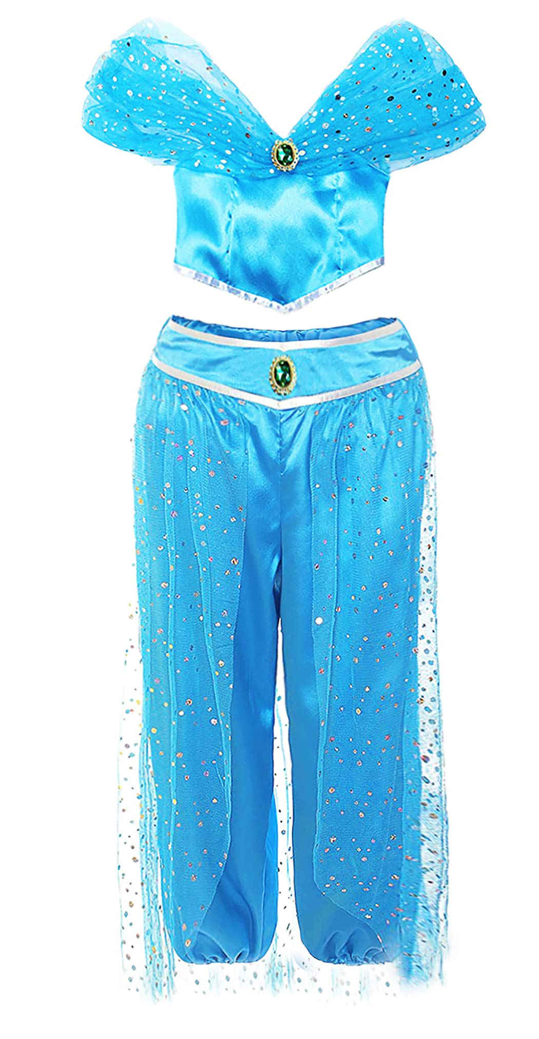 AmzBarley Niña Aladdin Princesa Jasmine Disfraz jazmín Tops ...