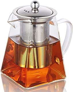Hwagui - Best Heat Resistant Glass Teapot With Stainless Steel Tea Infuser For Blooming And Loose Leaf Tea, Stovetop Safe Tea Pot 950ml/32oz