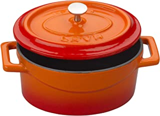 Enameled Cast Iron Mini Oval Cookware Casserole Dish with Lid & Handles - 14.25 oz - Orange - Pre-Seasoned – Oven Safe Up ...