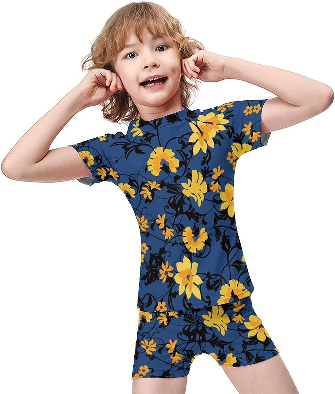Daisy Boys Two Piece Swimsuits Kids Short Sleeve Sunsuit UPF 50+ Swimwear Sets