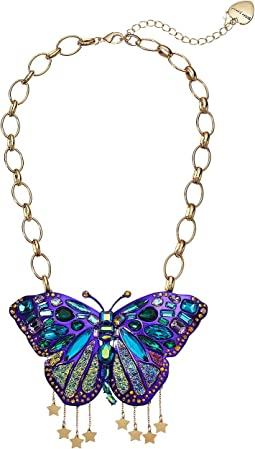 Purple Butterfly Statement Pendant Necklace
