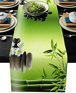 T&H XHome Dining Table Runner Dresser Scarf Linen Burlap Fabric,Japanese Zen Garden Bamboo Stone Plumeria Washable Table R...