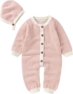 طفلة بوي ارتداءها الملابس القطن محبوك سترة رومبير بذلة ملابس قبعة مجموعة الملابس (Color : Pink, Size : 6M)
