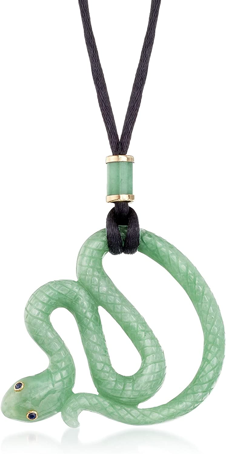 Ross-Simons Jade Snake Pendant Necklace With Black Satin Cord