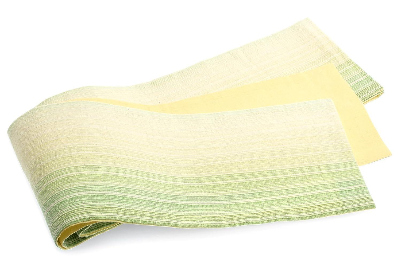 (ソウビエン) 半幅帯 Macle マクレ 創美苑オリジナル 緑系 グリーン 黄色 イエロー グラデーション 縞 綿麻 リバーシブル 両面 夏向け 夏祭り 花火大会 女性帯 細帯 半巾帯