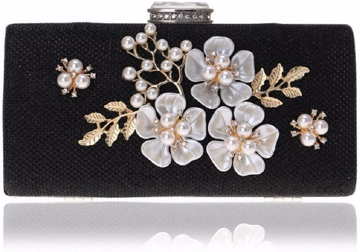 XJTNLB European and American Dinner Bag Pearl Evening Bag Ladies Dress Evening Clutch,Black