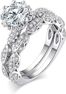 Ahloe Jewelry 3.5 Cttw مجموعة خاتم خطوبة دائري عتيق للنساء خواتم زفاف العصابات 925 فضة استرلينية هالو سي زد حجم 5-10