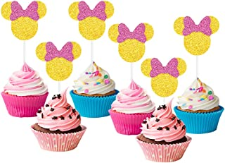 24 Pack Minnie Mouse Cupcake Topper for Kids Birthday Party Supplies