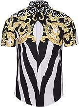 PIZOFF Men's Short Sleeve Luxury Print Dress Shirt