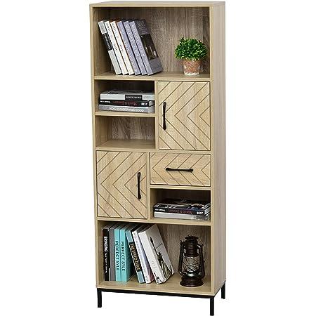 HOMCOM Librería Estantería para Libros CDs DVDs con 5 Compartimentos Cajón 2 Armarios de Puerta y Dispositivo Antivuelco 60x30x150 cm Madera Natural