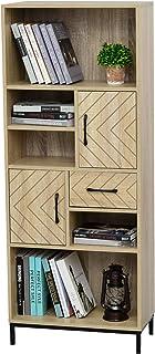 HOMCOM Librería Estantería para Libros CDs DVDs con 5 Compartimentos Cajón 2 Armarios de Puerta y Dispositivo Antivuelco 6...