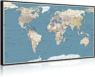 Welmeco Large Office Wall Decoration Detailed World Map Canvas Prints Poster Frame and Stretched Ready to Hang Push Pins Map of The World Picture Artwork for Living Room Decor