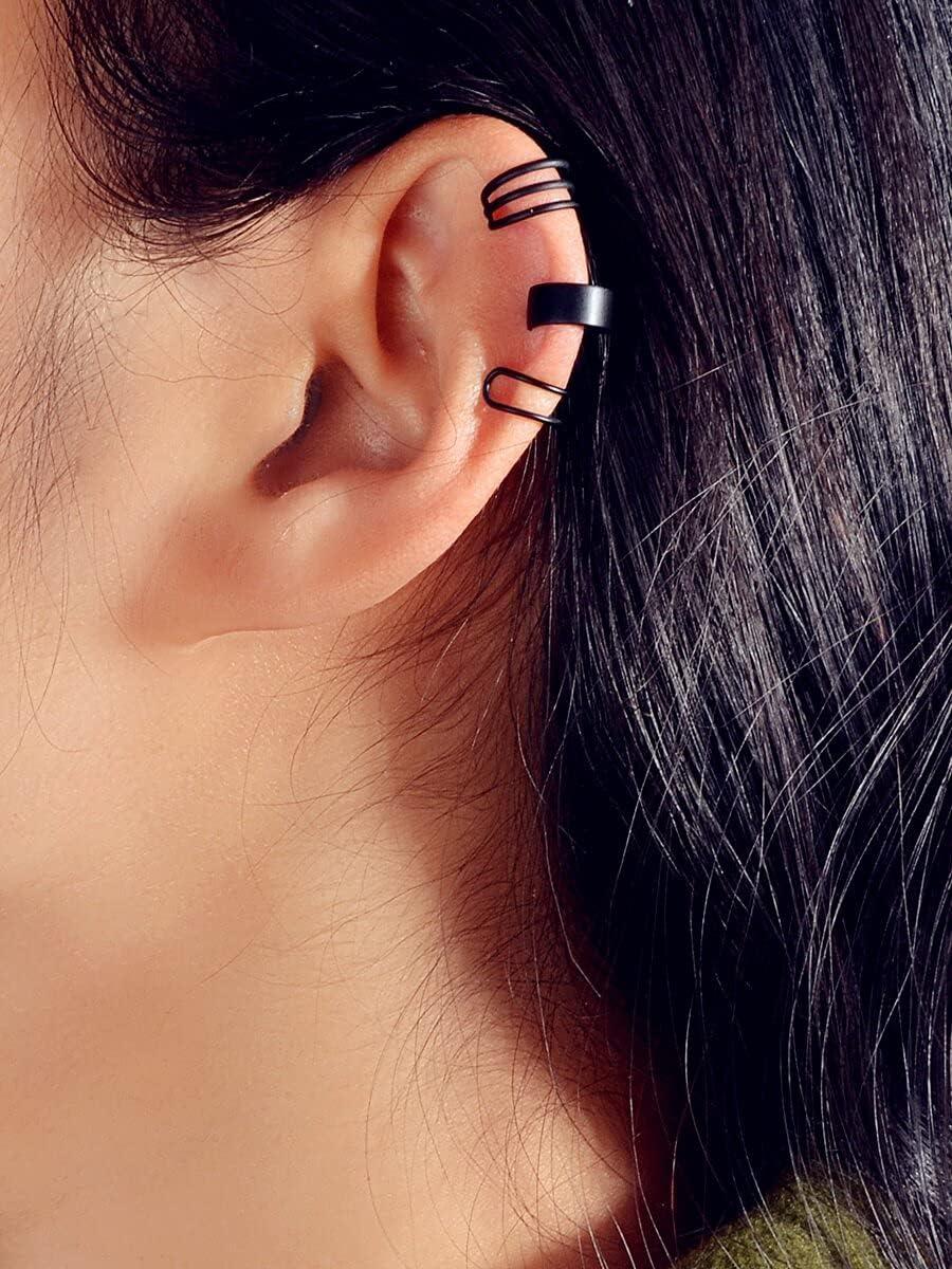 LCUY Hoop Earrings 3pcs Minimalist Ear Cuff (Color : Black)