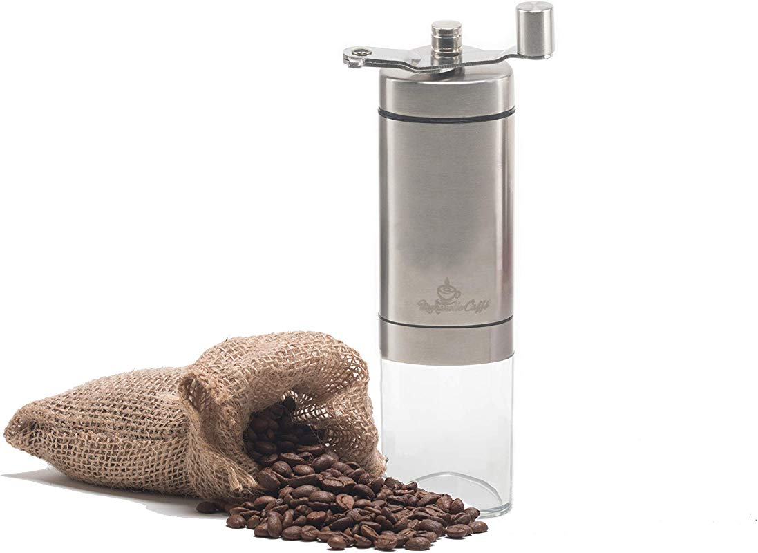 Maranello Caff Manual Coffee Grinder Adjustable Grind Conical Burr Coffee Grinder For French Press Espresso Turkish Cold Brew Stainless Steel Portable Coffee Bean Grinder For Camping Travel