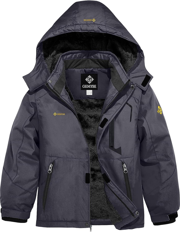 GEMYSE Boy's Waterproof Ski Snow Windproof Jacket Soldering Fresno Mall Fleece Hooded