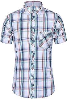 Berimaterry Camiseta de Manga Corta Cuello Redondo Tiempo Libre t/é Top Sportshirt Camisa Manga Corta de Cuadros Vichy Hombre Camisa Hawaiana para Hombre Manga Corta Estampada de Palmas