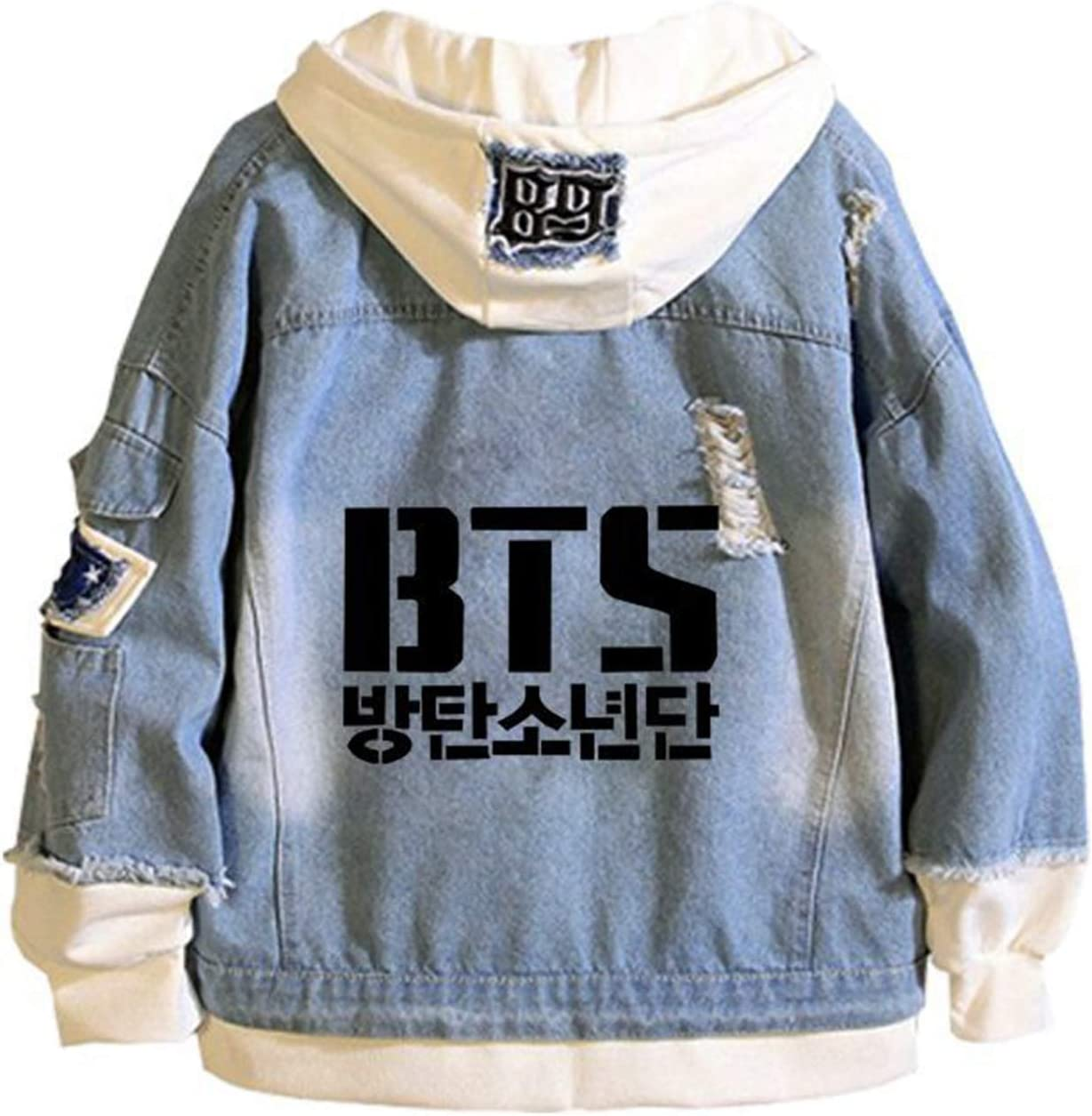 ATERAIN Kpop Denim Jacket,Jungkook Jimin Jin V Hoodie Long Sleeve Jacket Merchandise