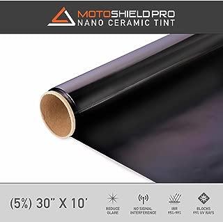 Motoshield Pro Ceramic Tint Film [Blocks Up to 99% of UV/IRR Rays] 30 Inches x 10 Feet - Window Tint Film Roll (5%)