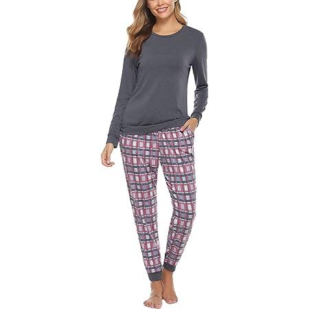 Damen Schlafanzug lang Pyjama Nachtw/äsche Sleepwear Nightwear 100/% Baumwolle